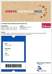 Voorbeeld van een e-ticket voor toegang tot de Dibevo-Vakbeurs 2012