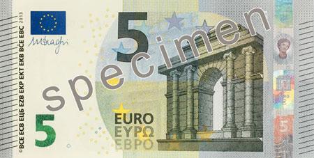 5-eurobiljet, het eerste briefje van de 'Europa'-serie