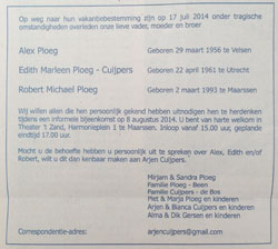Advertentie herdenkingsbijeenkomst Alex, Edith en Robert Ploeg
