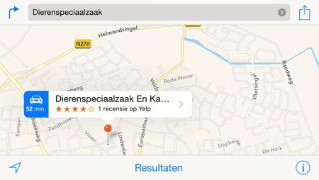 Apple Kaarten - zoekresultaat