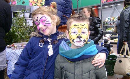 Bij de Dierenfair van Bolle Dier en Tuin in Zierikzee werden kinderen geschminkt