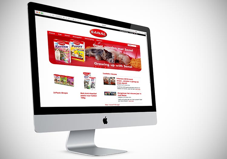 Sanal-website voor het bedrijf Nederma