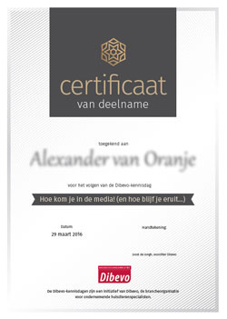 Certificaat deelname kennisdag