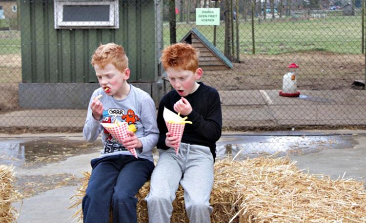 Frietjes eten bij Dierenspeciaalzaak De Kinderen