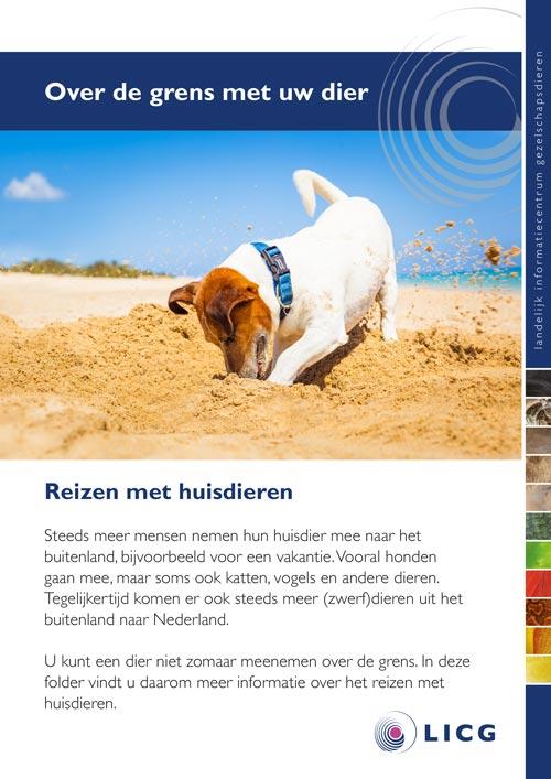 Folder van het LICG over reizen met je hond of kat